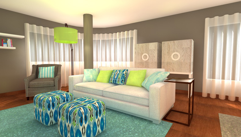 Turquoise And Lime Green Living Room Interior Design Ideas